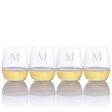 15cbf1c0f1f Personalized Riedel O White Wine Tumbler Viognier/Chardonnay Glasses - Set  of 4 - Engraved