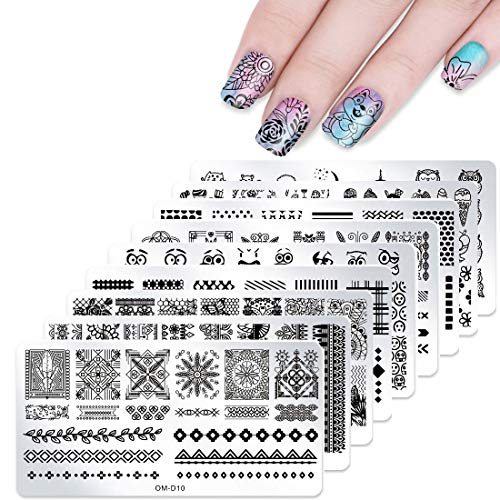 10pcs Nail Stamping Kit Stamping Plates with Stamper and Scraper - DAODER Novel and Vivid Nail Printing Image Cute Animal Lace Flower Geometric Stripe Pattern Nail Plates for Nails Desgin (10 Plates)