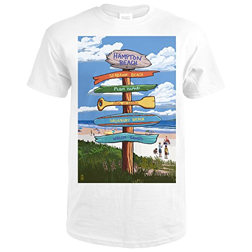Hampton Beach, New Hampshire - Destination Signpost (Premium White T-Shirt Large) Hampton Large Post