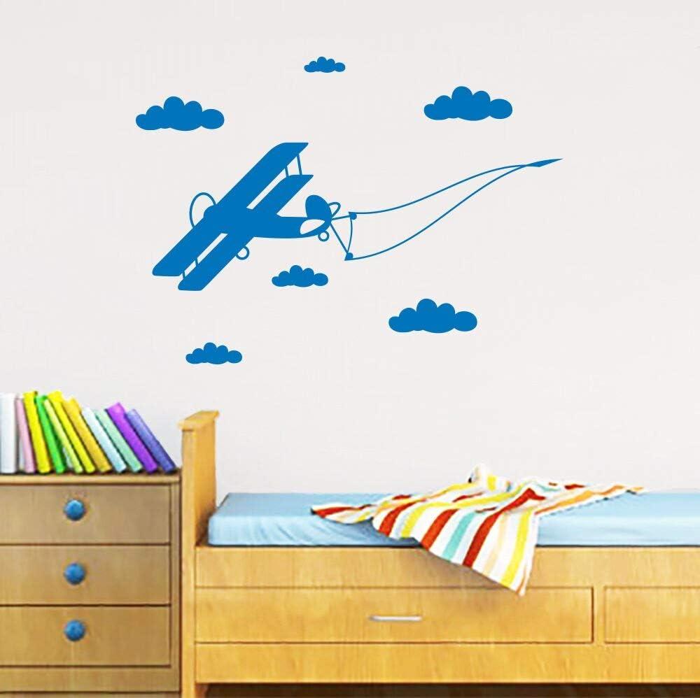 TYLPK Diseño Adhesivos de pared Avión Vuelo Nubes Bandera Cuarto ...