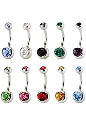 CrazyPiercing Set of 10pcs 14GEM Double Gem Belly Button Ring Body Jewelry Piercing Ring 10 pcs