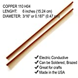 "Copper Rod 3/16"" (0.187"") Diameter - 6"" Long"