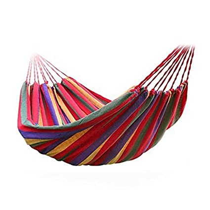 MAKNGRID Cotton Striped Foldable Hammock (for Single Person)/Hanging Bed for Camping & Outdoor Activities (197 cm x 80 cm) - Multicolor