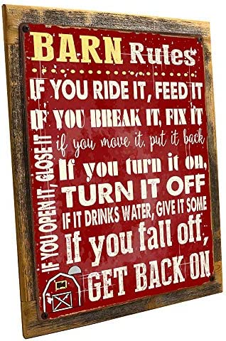 OMSC Wood-Framed Barn Rules Metal Sign, Stable, Rustic D cor, Cowboy, Ranch, Horses on Reclaimed, Rustic Wood