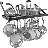 Vdomus Wall Mounted Square Grid Pot Pan Rack, Kitchen Cookware Storage Organizer with 15 Hooks,29.3 by13-inch(Black,Simple)