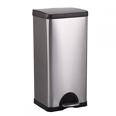 BestOffice 10 Gallon/ 38L Step Stainless Steel Trash Can Kitchen