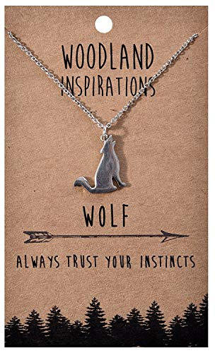 - Shag Wear Woodland Nature Inspirations Quote Necklace (Wolf Pendant)