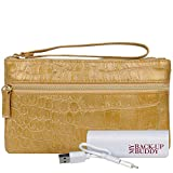 Wilsons Leather Womens Back Up Buddy Ii Fauxleather Wristlet Croco Gold