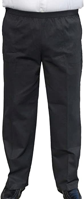 CK Sportswear The Senior Shop Men's Full Elastic Waist, No Zipper, Buttons Loops, Pull On Twill Casual Pant