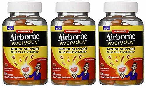 Airborne Everyday Immune Support Supplement Plus Multivitamin Gummies, 50 Count- Citrus Blast, (Pack of 3)