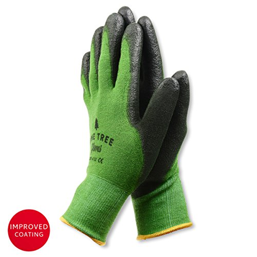 Pine Tree Tools Bamboo Working Gloves for Women and Men-Ultimate Barehand Sensitivity Work Glove for Gardening, Fishing, Clamming, Restoration Work-black /green,L,(1 (Chore Gloves)