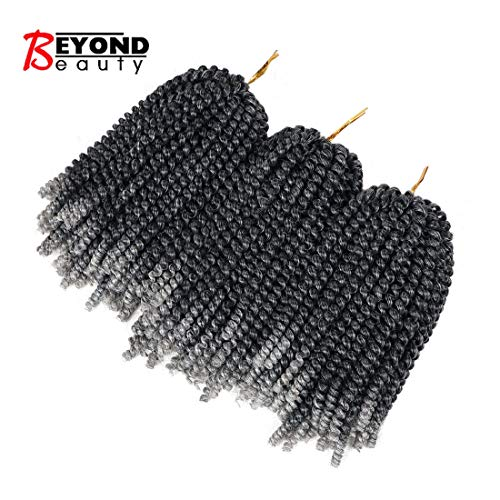 3 Pack Spring Twist Ombre Colors Crochet Braids Synthetic Braiding Hair Extensions Low Temperature Fiber (M1B-Grey)