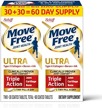Type II Collagen, Boron & HA Ultra Triple Action Tablets, Move Free (60 count in a value pack), Joint Health Supplement With Just 1 Tiny Pill Per Day To Promote Joint, Cartilage and Bone Health