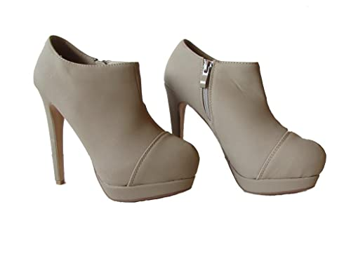 Belly-46 Womens Faux Suede Nubuck High Heel Event Booties Taupe