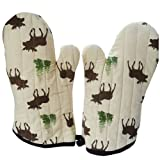 Lovely Moose Stripe Cotton Heat insulation gloves/Oven Mitts,BROWN(2-pack)