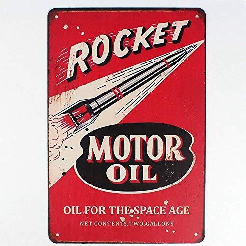 ロケットモーターオイル 金属板ブリキ看板警告サイン注意サイン表示パネル情報サイン金属安全サイン