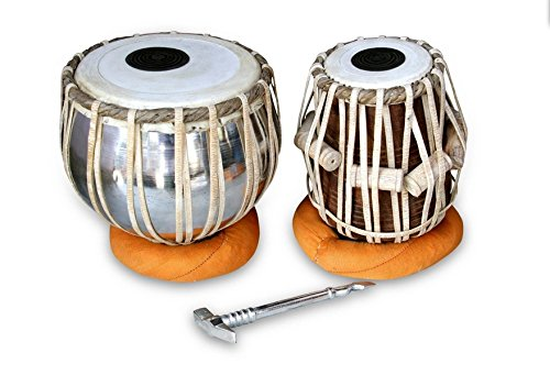 HANDMADE PROFESSIONAL QUALITY TABLA DRUM SET, STEEL BAYAN SHEESHAM WOOD DAYAN, GREAT SOUND WITH TUNNING HAMMER, CUSHIONS & COVER by STORE ONE INDIA