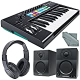 Novation Launchkey MK2 25-Key USB MIDI Keyboard Controller and Stereo Pair Bluetooth Monitor Accessory Bundle
