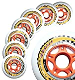 Inline Race Skate Wheels Hyper HYPERFORMANCE+G - 8 Wheels - 85A - Sizes: 84MM, 90MM, 100MM, 110MM - Speed Skating, Fitness and Outdoor Recreational Wheels (84MM)
