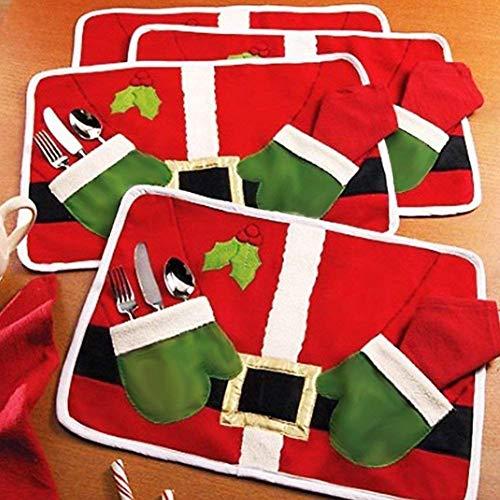 (Hever 4 PCS Set Dish Bowl Food Placemat Mat Christmas Party Decoration Santa Claus (4 Pcs Placemat))