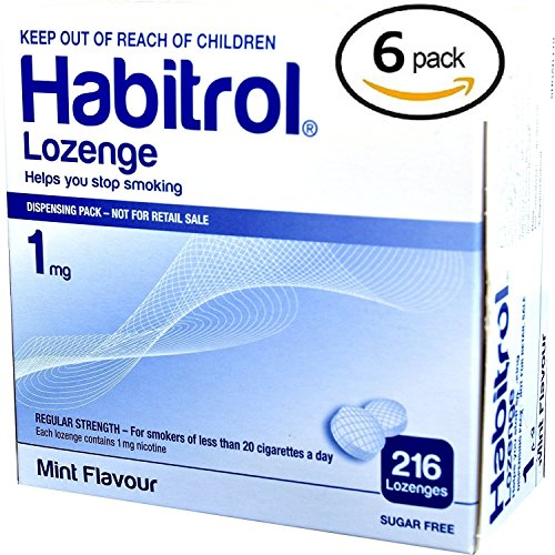 Habitrol Nicotine Lozenge 1mg Mint Flavor. 6 packs of 216 Lozenges (total 1296)