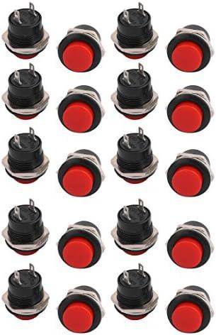 uxcell プッシュボタンスイッチ 防水 瞬間型 プラスチックヘッド 3A / AC250V レッド 20個入り