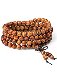 ZM Wood Bracelet Tibetan Buddhist Link Wrist Sandalwood Beads Prayer Mala Elastic