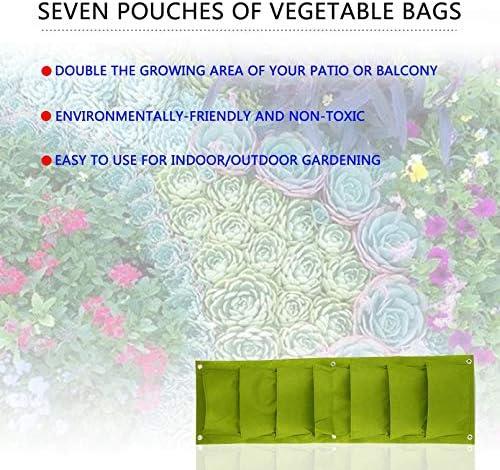 Turobayuusaku 96 30cm Green Vertical Garden Planter Wall-Mounted Planting Flower Grow Bag 7 Pocket Vegetable Living Garden Bag Home Supplies