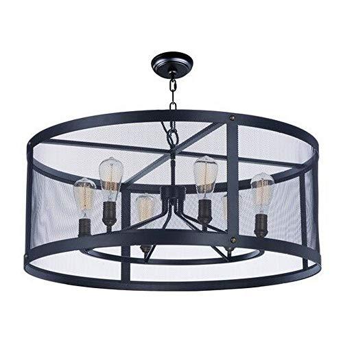 Maxim 20114BKNAB/BUI, Palladium Incandescent Chandelier, 6 Light, 60 Watts, Black/Natural Aged Bra