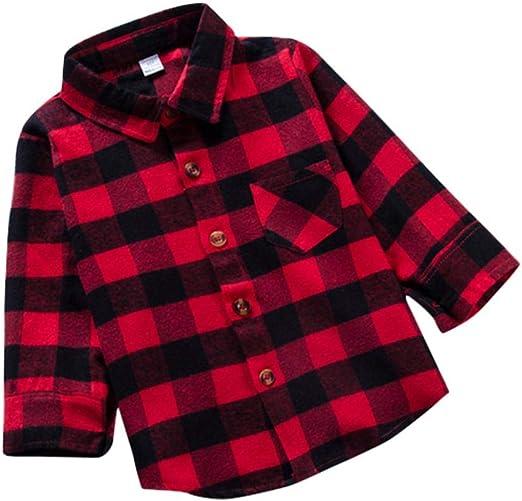 AOLVO NB-6T - Camisa de Franela para niño o niña de Manga Larga con Botones 110: Amazon.es: Hogar