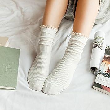 GAOLIM Mujer Calcetines En Otoño Y En Invierno, Los Encajes De Aguja Doble Calcetines Calcetines