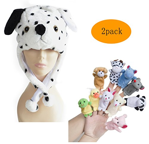 [Pulama Winter Animal Beanie Hats, Short Cartoon Caps with 10 Finger Puppets (Dalmation Dog)] (Make Lion Costume For Dogs)