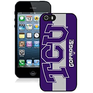 Fashionable And Unique Designed With NCAA Big 12 Conference Big12 Football TCU Horned Frogs 2 Protective Cell Phone Hardshell Cover Case For iPhone 5S Phone Case Black