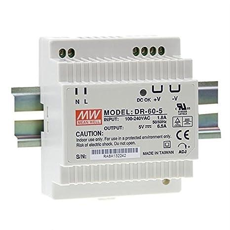MDR-60-5 ; Hutschienennetzteil Hutschienen Netzteil 50W 5V 10A ; MeanWell