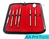 PROFESSIONAL DENTAL HYGIENE KIT BY AA PRO | 6 PEICE STAINLESS STEEL INSTRUMENTS INCLUDING TARTER SCRAPER SCALER REMOVER TOOL, DENTAL PICK, PROBE, TEETH MIRROR, BURNISHER, PET FRIENDLY A+ QUALITY