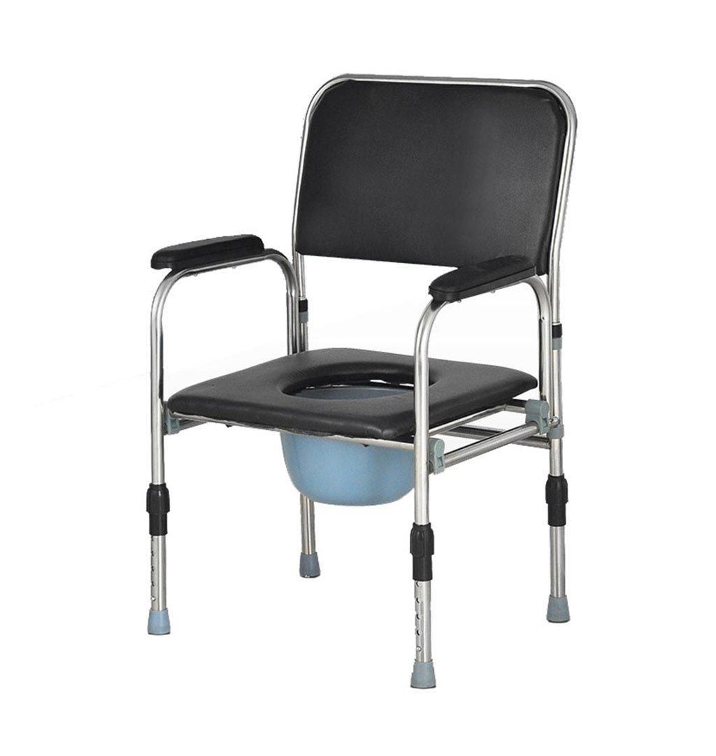 ステンレススチール製のトイレの椅子高齢者妊婦の椅子の椅子バスルーム抗スリップ調節可能な高さのバスルームシャワースツール障害者便座の椅子Max.180kg B07DHHX89J