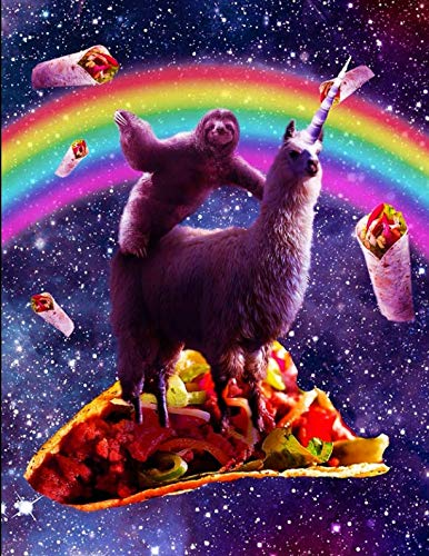 Space Sloth Rides Unicorn Llama On A Taco
