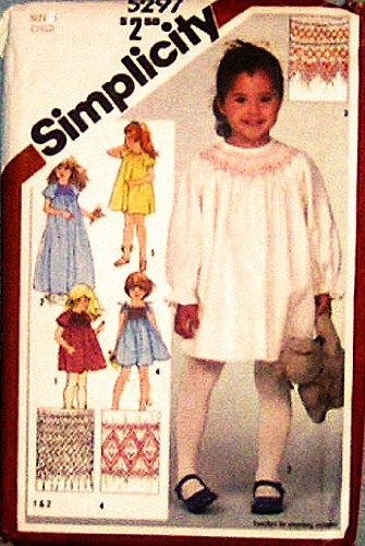 Simplicity 5297 Girls Party Dress with Smocking Sewing Pattern, Vintage 1980s Wedding, Flower Girl
