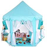 KIDUKU Princess Castle Play Tent Playhouse Play cube with hanging baskets, 3 colours available (Blue)