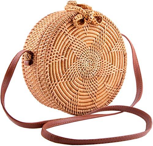 (Handmade Round Ata Rattan Bag - Boho Shoulder Straw Bag - Crossbody Purse Women)
