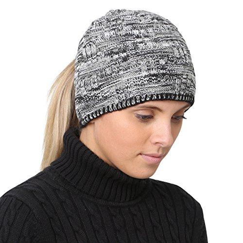 Hats Gear Apparel - TrailHeads Women's Space Dye Knit Ponytail Beanie - black & white
