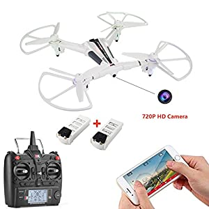 WINGLESCOUT WIFI Quadcopter with 720P Detachable Camera FPV Live Video 5.8GHz RC Drone with Optical Flow and Gravity Control 17mins Flight Time 2 Batteries from Cellstar Co.,Ltd