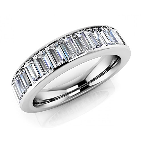 2.00 ct Ladies Baguette Cut Diamond Eternity Wedding Band Ring( Color G Clarity SI1) Platinum In Size 8