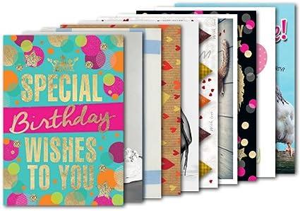 Pack de 10: tarjetas postales A6 + + + Mix Juego Nº 2 de Modern Times + + + 10 Bella de cumpleaños Diseños International + + +: Amazon.es: Oficina y papelería