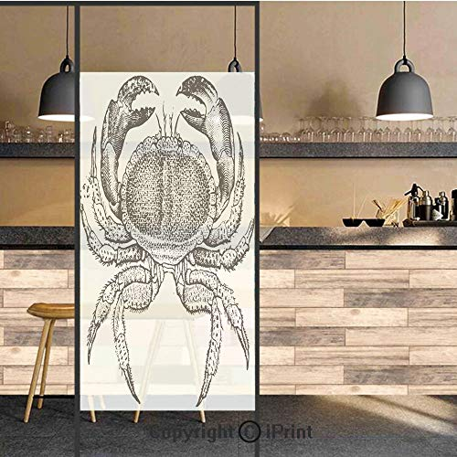 (3D Decorative Privacy Window Films,Seafood Theme Design Vintage Engraved Illustration of an Edible Crab Print,No-Glue Self Static Cling Glass Film for Home Bedroom Bathroom Kitchen Office 24x36 Inch)