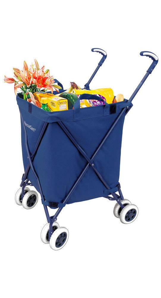 The Original VersaCart Transit Folding Shopping and Utility Cart,  Water-Resistant Heavy-Duty Canvas with Cover, Double Front Swivel Wheels,  Compact ...