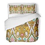 SanChic Duvet Cover Set Colorful Golden Traditional Thai Elephant Lotus Flower Pattern Design on Wall in The Temple Yellow Decorative Bedding Set 2 Pillow Shams King Size