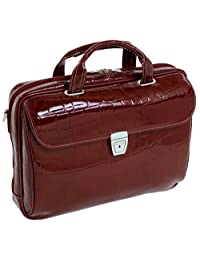 Siamod 35516 Settembre Italian Leather Medium Ladies Laptop Brief, Cherry Red