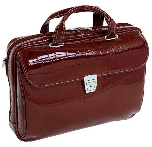 Siamod IGNOTO 35516 Cherry Red Leather Large Ladies' Laptop Brief by Siamod