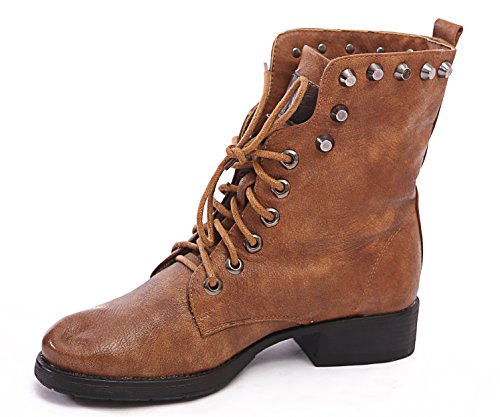 WOMENS Tan SIZE UP PUNK 3 GOTH ANKLE BOOTS 8 NEW 6 LACE BIKER BLOCK LADIES COMBAT M1150 7 5 4 HEEL gWq5wR4O